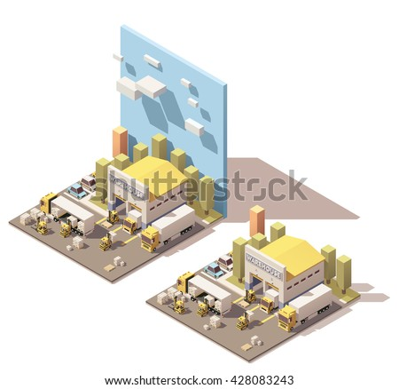 Vector Isometric icon or infographic element representing warehouse facility, truck with semi trailer, box-truck and forklifts loading pallets with cardboard boxes - stock vector