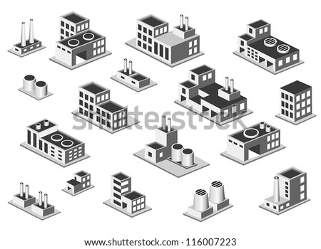 Vector isometric icon set factory production buildings on white background - stock vector