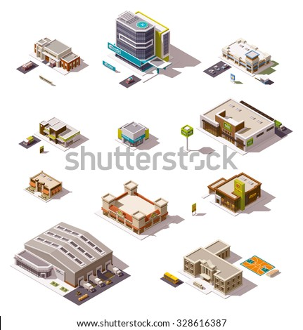 Vector isometric icon set or infographic elements representing low poly buildings - police station, cafe, hospital, warehouse, drugstore, supermarket, shops and stores - stock vector