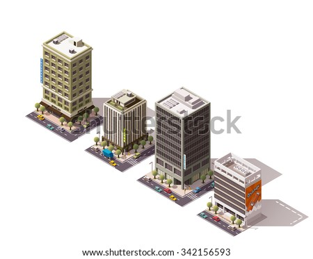 Vector isometric icon set or infographic elements representing low poly city buildings - skyscrapers, offices, bank house with street elements and cars - stock vector