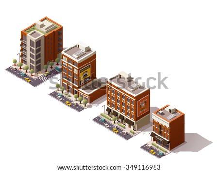 Vector isometric icon set or infographic elements representing low poly city buildings - offices, homes, shops and restaurant with cars and trees on the streets - stock vector