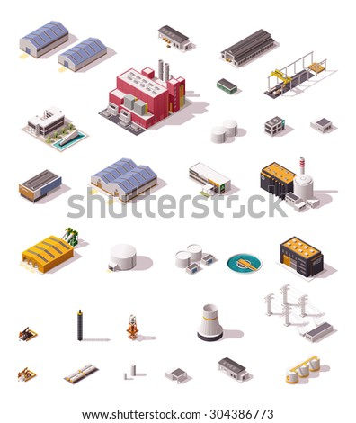 Vector isometric icon set or infographic elements representing low poly industrial structures and buildings - plant, factory, storage, warehouse, hangar, machines and facilities - stock vector