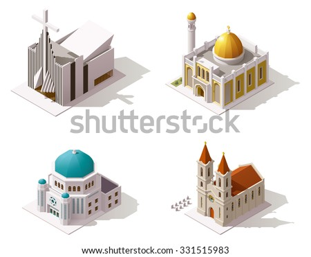 Vector isometric icon set or infographic elements representing low poly Muslim, Christian, Jewish temples buildings - Mosque, Catholic Church, Protestant Church and Synagogue  - stock vector