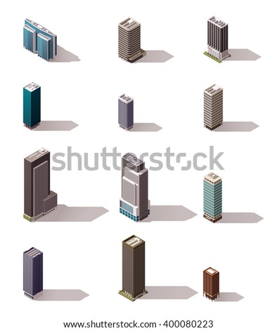 Vector isometric icon set or infographic elements representing low poly town skyscraper apartment and  office buildings for city map creation - stock vector