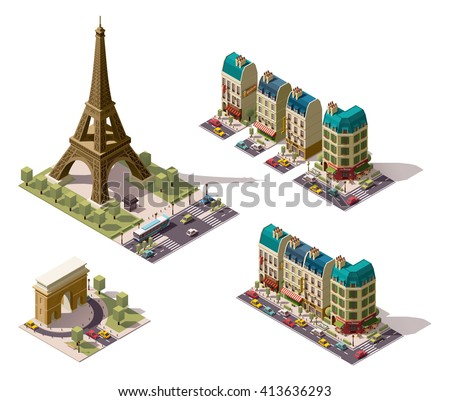 Vector isometric icon set or infographic elements representing Paris (France) architecture - old buildings, houses, Eiffel tower, restaurant, shops, hotel,  triumphal arch - stock vector