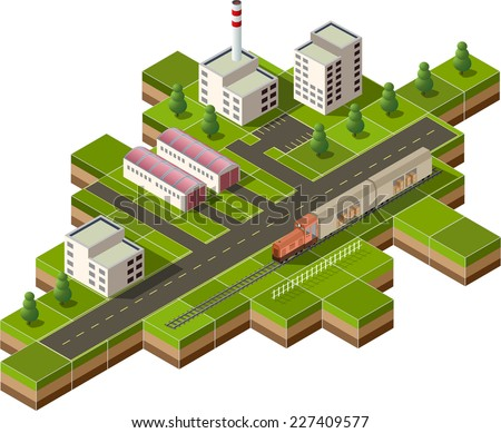 Vector isometric illustration of a factory with freight train - stock vector