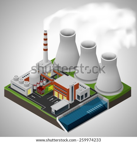 Vector isometric illustration of a nuclear power plant. - stock vector