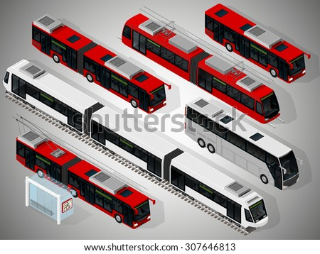 Vector isometric illustration of a set of municipal transport consisting of low floor city buses, trolleybus, a coach, a tram, a subway train. Vehicles designed to carry large numbers of passengers. - stock vector