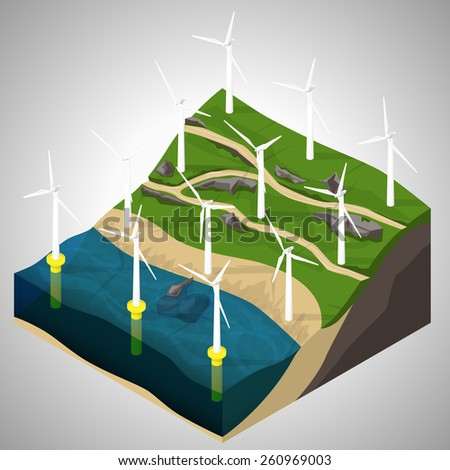 Vector isometric illustration of a wind power plants. - stock vector
