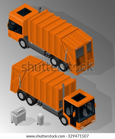 Vector isometric illustration of garbage truck front and rear view and the garbage containers. Equipment for maintenance of urban infrastructure. - stock vector