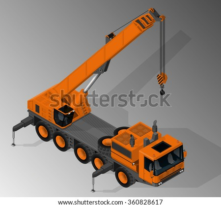 Vector isometric illustration of mobile crane. Equipment for the construction industry. - stock vector