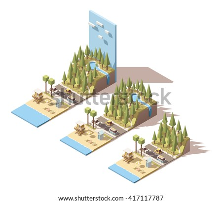 Vector Isometric infographic element or icon representing car summer travel to the sea beach near  the mountains with forest, lake and waterfall - stock vector