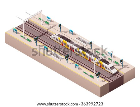Vector isometric infographic element or icon representing low poly public train station platform with passenger trains and related infrastructure - stock vector