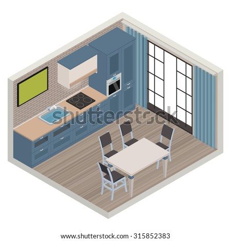 Vector isometric kitchen nautical color interior - 3D illustration. Nautical theme in the interior - stock vector