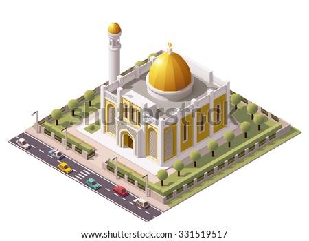 Vector isometric mosque building icon - stock vector