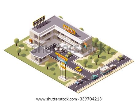 Vector isometric motel building icon - stock vector