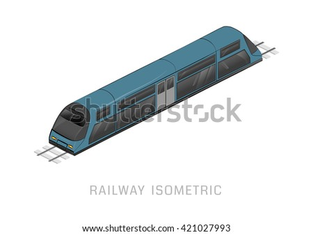 Vector isometric of subway train. Vehicles designed to carry large numbers of passengers. High speed inter-city commuter train. Isometric train. Vector public electric transport. Isometric transport - stock vector
