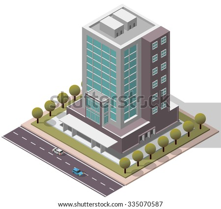 Vector Isometric Office Workplace Building for map - stock vector