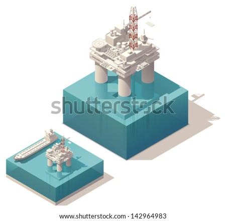 Vector isometric oil rig with tank ship - stock vector