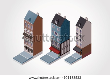 Vector isometric old buildings. Part 2 - stock vector