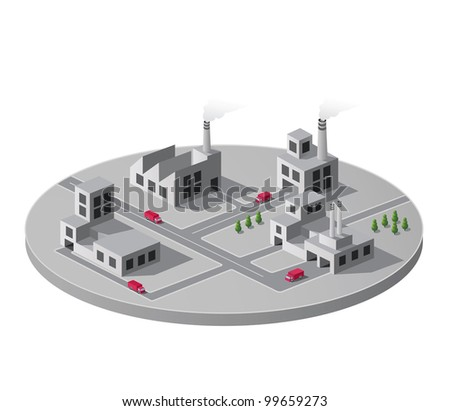 Vector isometric portion of the landscape with factories - stock vector