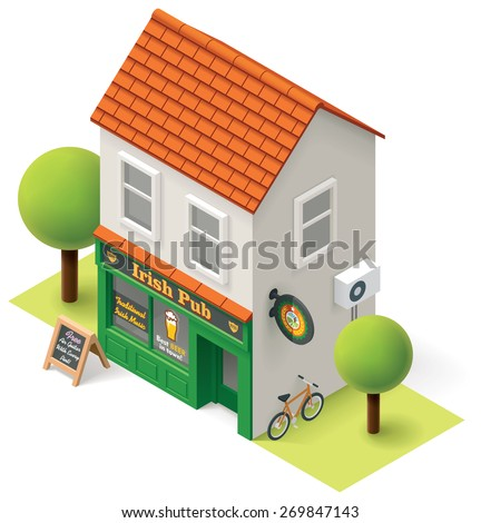Vector isometric pub building icon - stock vector