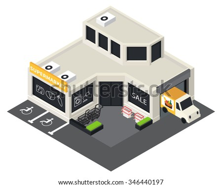 Vector isometric shopping mall building icon. Supermarket 3d model. - stock vector