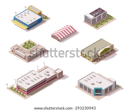 Vector isometric shopping malls and supermarkets buildings set - stock vector