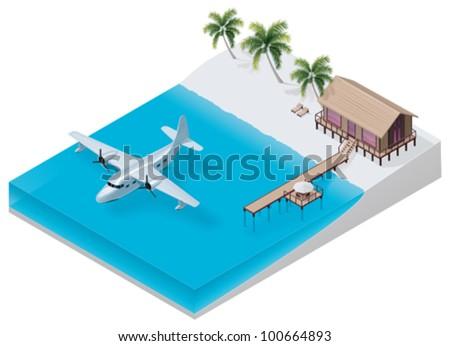 Vector isometric tropical resort - stock vector