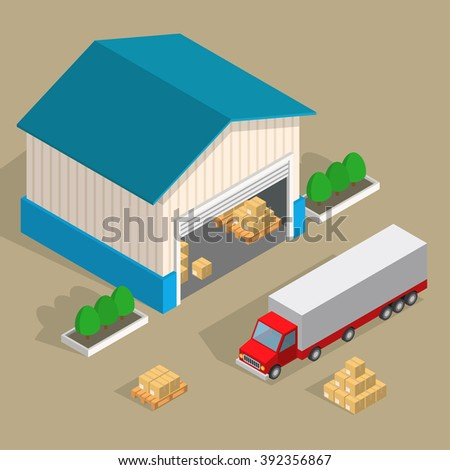 Vector isometric warehouse, truck, pallets and delivery boxes. Loading and unloading closed cardboard boxes on wooden pallets from warehouse. - stock vector