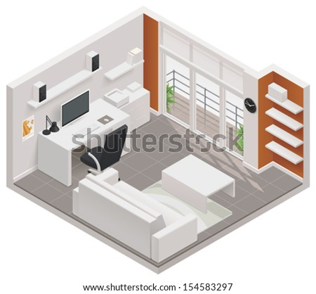 Vector isometric working room icon - stock vector