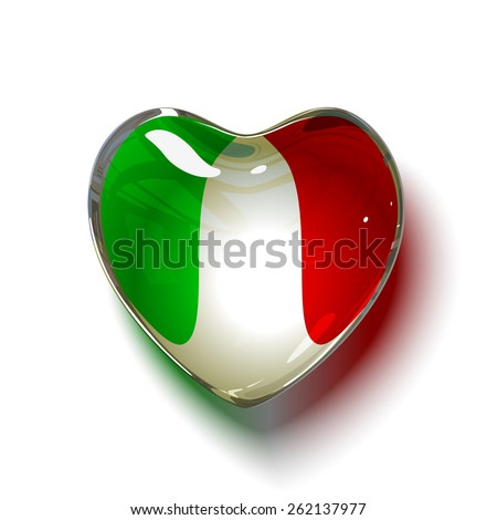 Vector. Italian heart. Glass heart with flag of Italy inside. isolated on white background. - stock vector