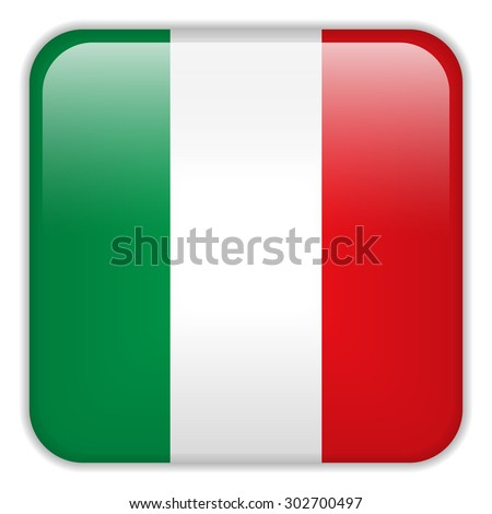 Vector - Italy Flag Smartphone Application Square Buttons - stock vector