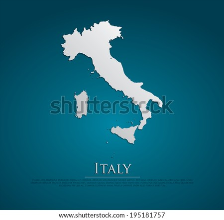 vector Italy Map card paper on blue background, high detailed - stock vector