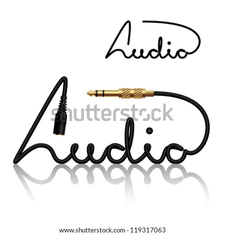 vector jack connectors audio calligraphy - stock vector