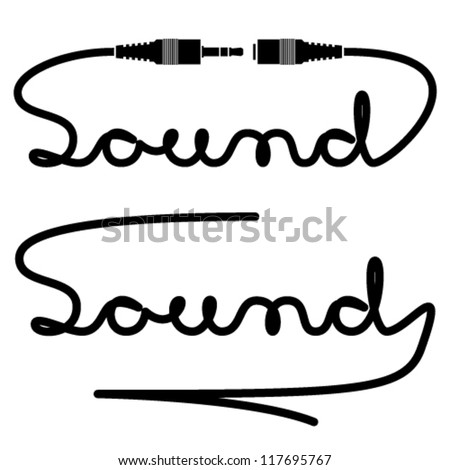 vector jack connectors sound calligraphy - stock vector