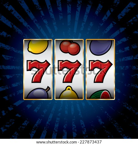 vector jackpot triple sevens at slot machine  - stock vector