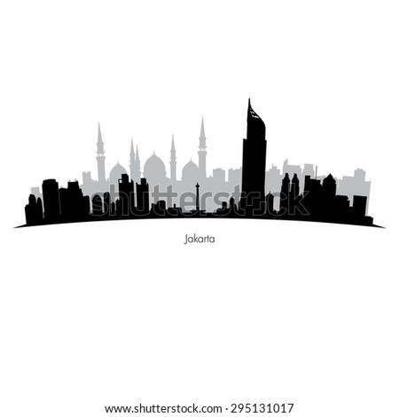 vector  Jakarta skyline  - stock vector