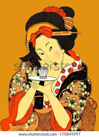 Vector Japanese Geisha (traditional art style illustration) - stock vector