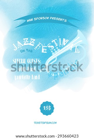 Vector jazz, rock or blues music poster template. Blue watercolor stain isolated on the white background. Abstract background for the card, brochure, banner, web design. - stock vector
