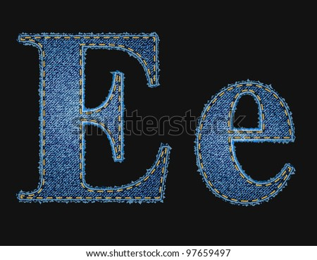 Vector jean fabric letters - stock vector