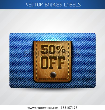 vector jeans and leather offer label - stock vector