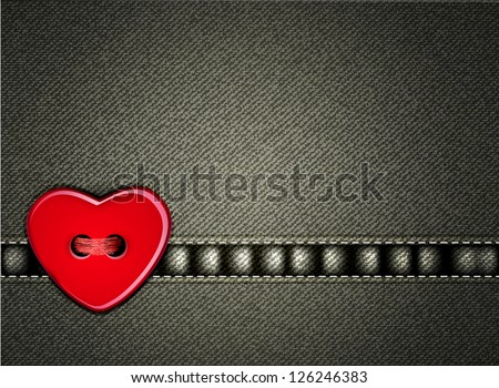 Vector jeans background Valentine's Day with a heart of the button - stock vector