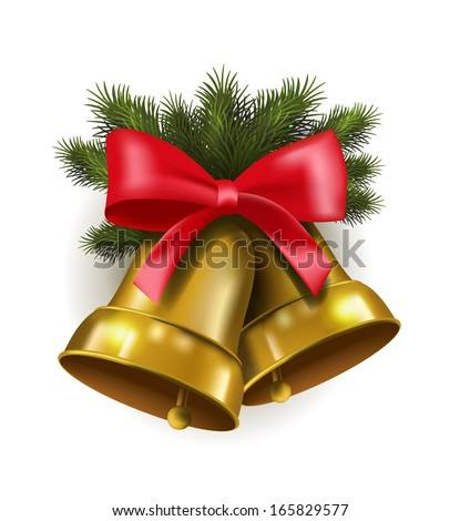 vector jingle bells with red bow - stock vector