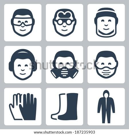 Vector job safety icons set - stock vector