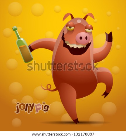 vector jolly pig 4 - stock vector
