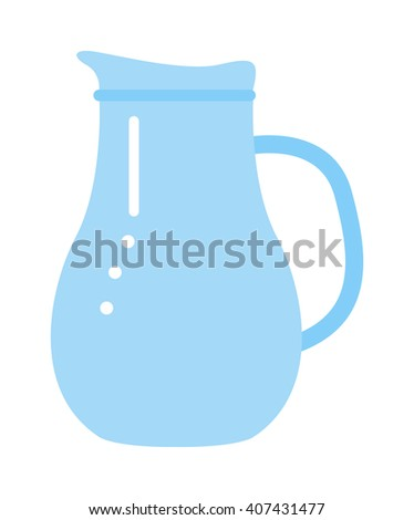 Vector jug blue isolated on white. Jug water or milk isolated. Jug vector silhouette. Jug full or empty of water - stock vector