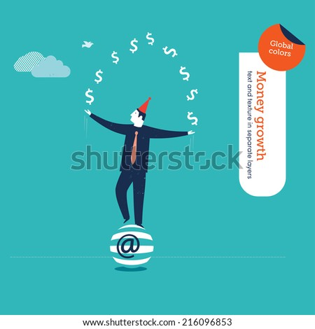 Vector juggler with money signs. Vector illustration Eps10 file. Global colors. Text and Texture in separate layers. - stock vector
