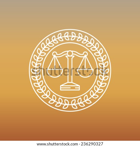 Vector juridical and legal logo and sign - line label - stock vector
