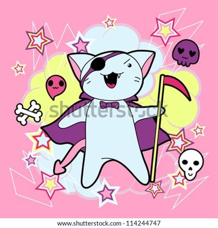 Vector kawaii illustration Halloween cat and creatures. - stock vector